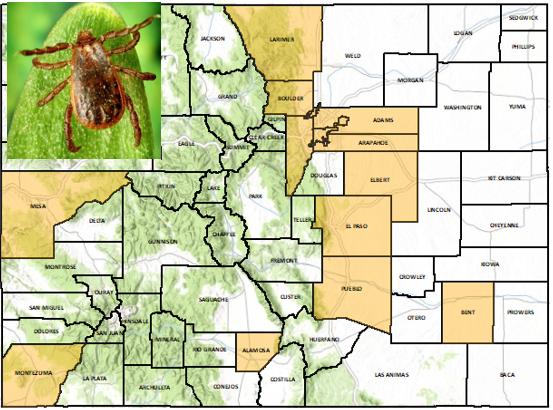 Brown Dog Tick Distribution Mapin Colorado