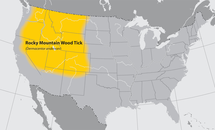 CDC Distribution Map for Rocky Mountain Wood Tick